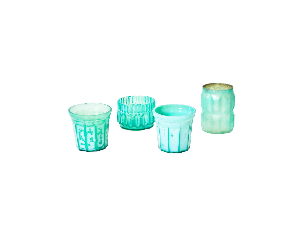 Blue and Green Mercury Glass Votive Holder