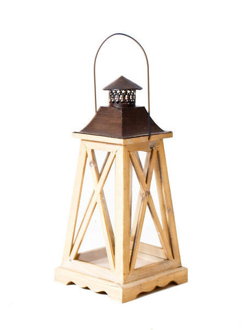 Light Wood X Lantern with Tapered Base