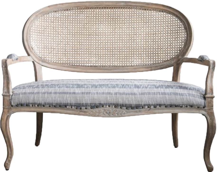Linen Striped Cane back Bench