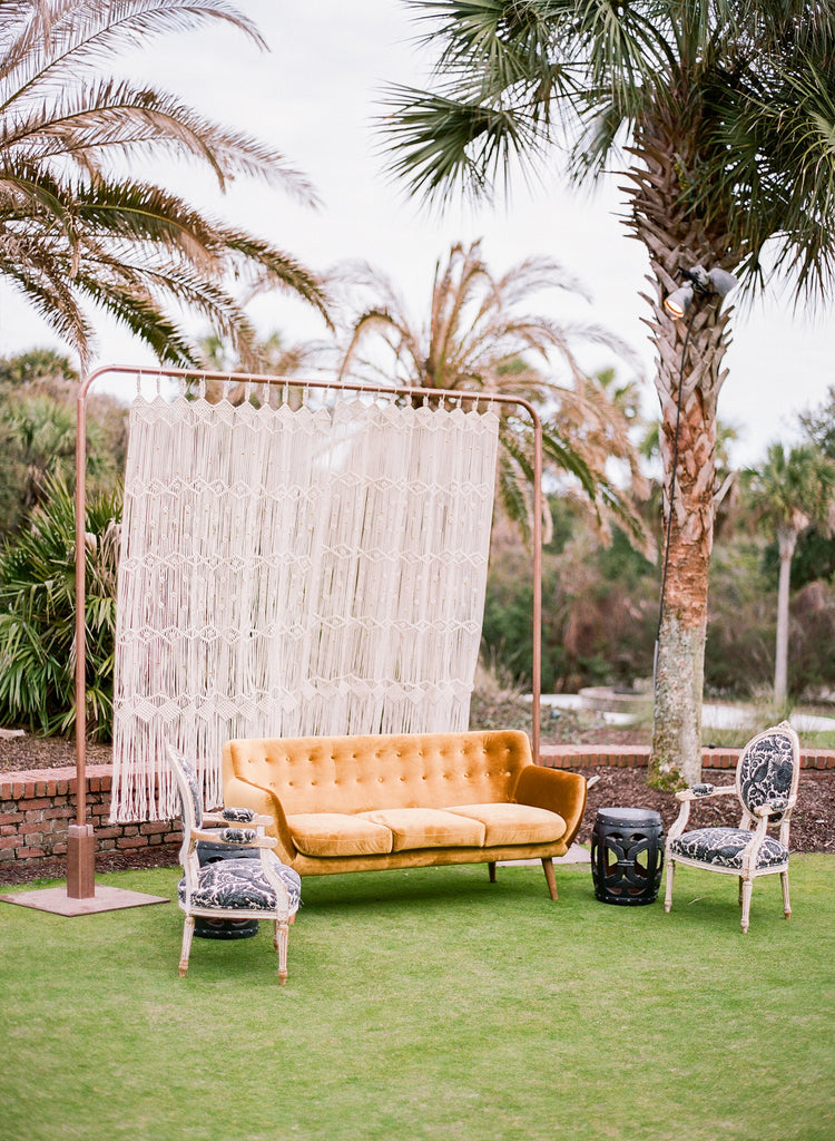 rental items, furniture for rent, event planning, ooh events, ooh events couch, ooh events sofa, charleston sc rentals, charleston wedding rentals, arbor, modern arbor, nontraditional arbor, copper arbor, ceremony arbor