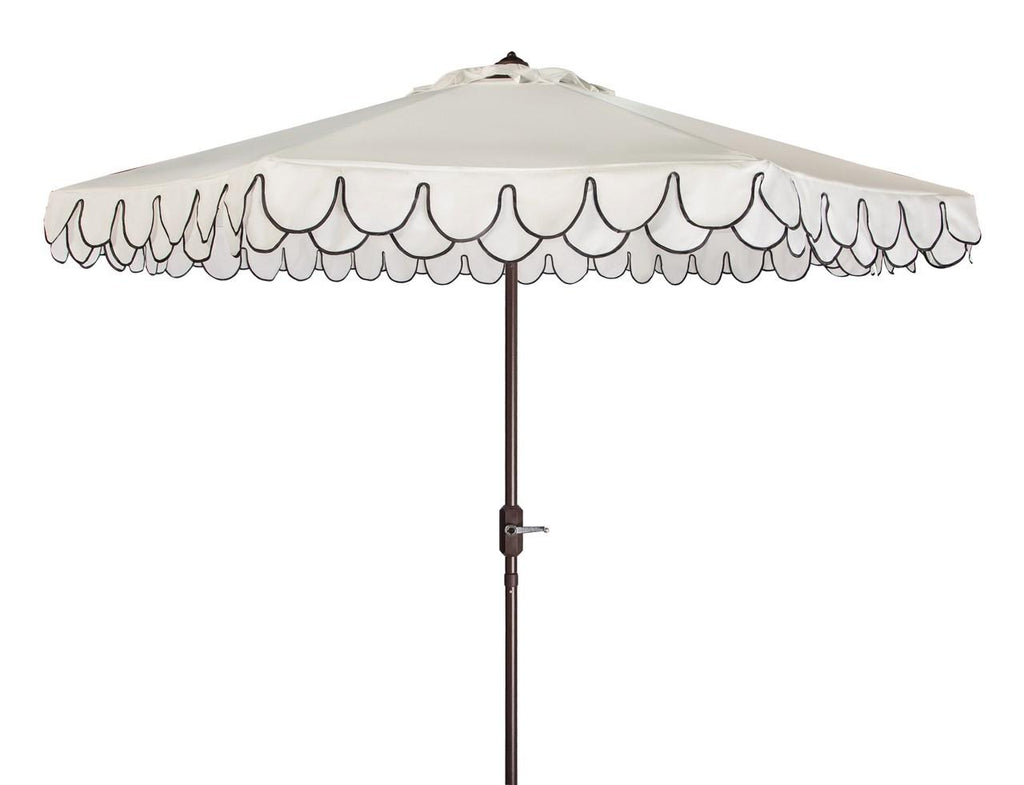 White with Black Trim Umbrella and Stand