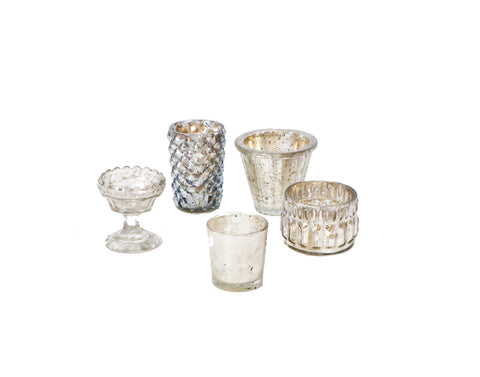 Silver Mercury Glass Votive Holder