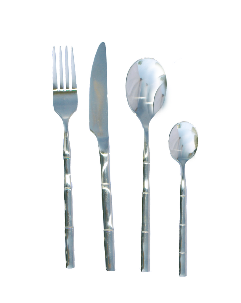 silver bamboo flatware, silver bamboo utensils, bamboo, ooh events, polished tabletop