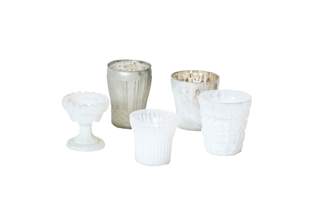 White Mercury Glass Votive Holder