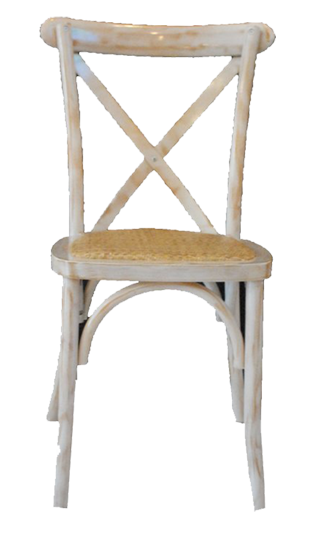 Whitewash X Back Rattan Chair