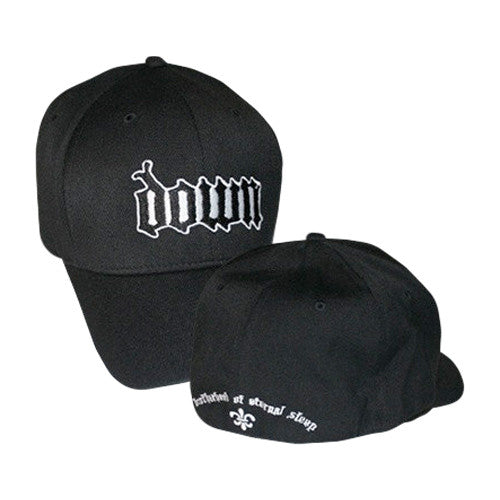 DOWN Black Flex-Fit Cap-Small