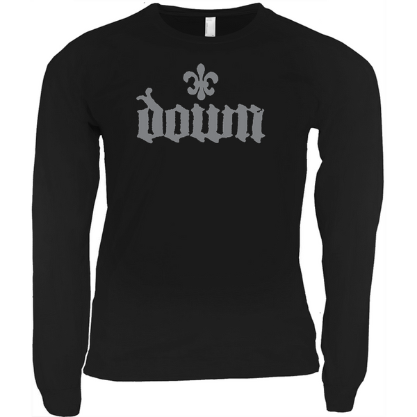 DOWN Grey Fleur De Lis Logo Long Sleeve