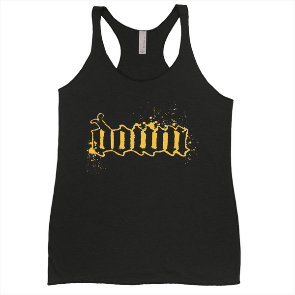 Womens Gold Splatter Logo Tank