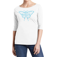 Aqua Crystal Butterfly Moody Blues Logo White Tunic
