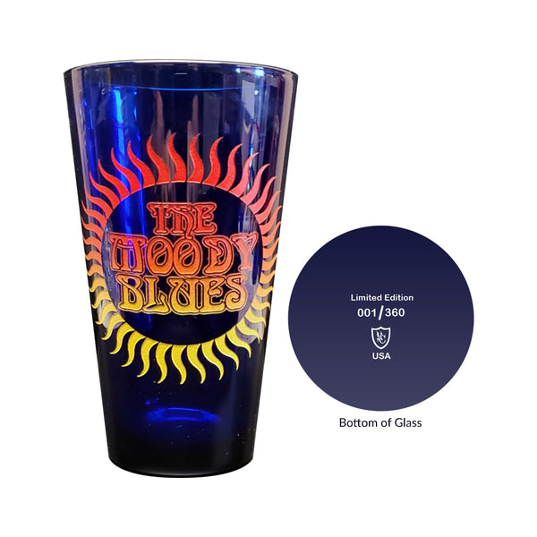 Moody Blues etched with color cobalt blue pint limited edition and number