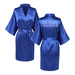 Crystal Logo Satin Robe (Royal Blue)