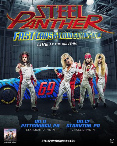 Steel Panther To Make Pennsylvania Drive-In Pit Stops This September on the Fast Cars & Loud Guitars Tour