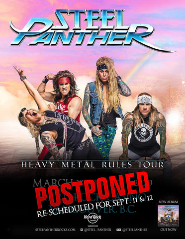 Vancouver Shows POSTPONED to September 11 & 12
