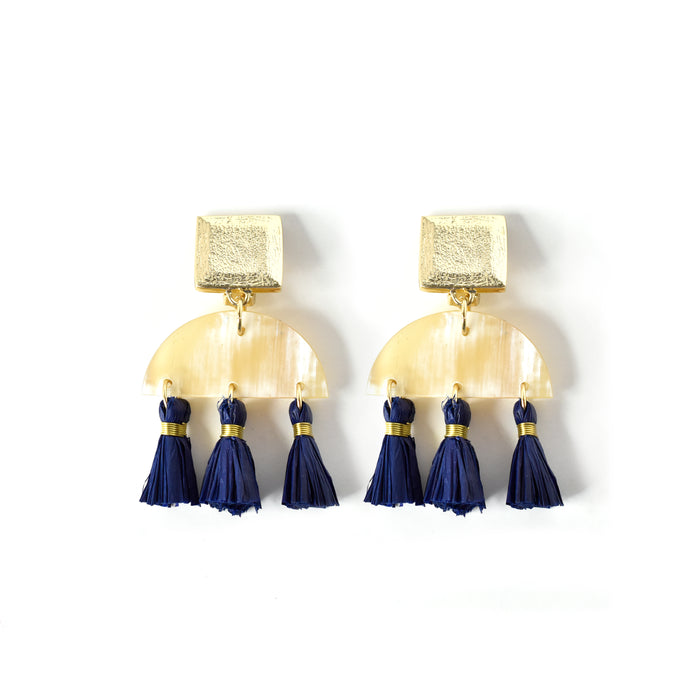 Horn and Raffia Tassel Statement Earring - Akola