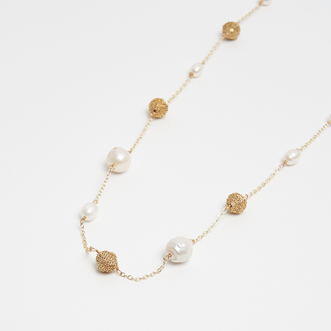 Amahle Pearl & Chain Wrapped Karatasi Bead Station Necklace - Akola
