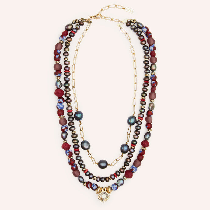 Athena Beaded Statement  Necklace with  Swarovski Crystal & Pearl