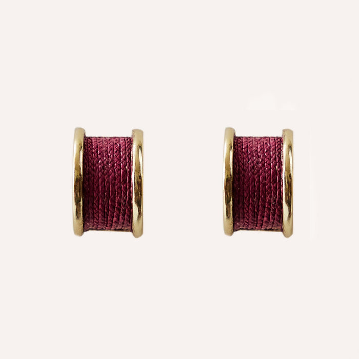 Rose Huggie Earring with Braided Raffia
