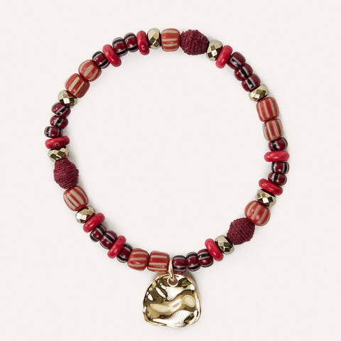 BRAVE Inspirational Beaded Charm Bracelet with Cranberry Raffia & Glass