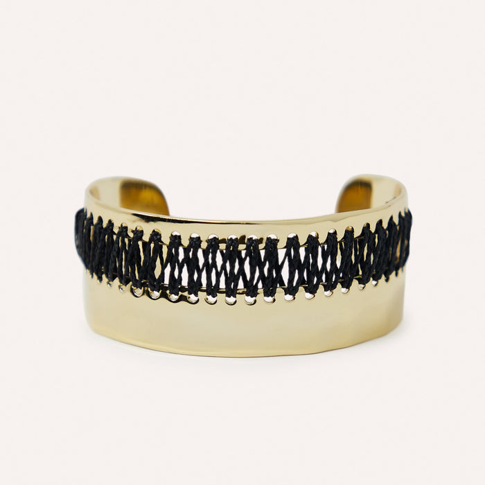 Luan Gold Cuff Bracelet with Woven Raffia in Black