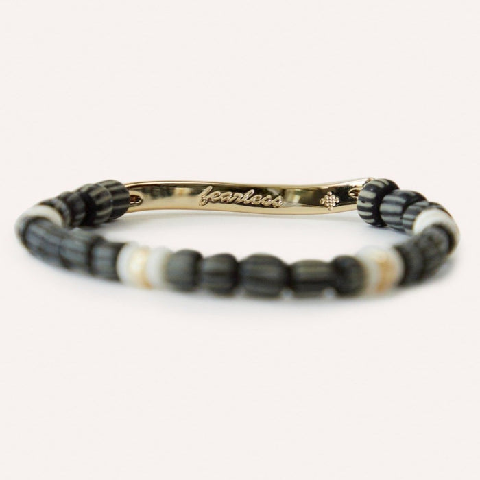 FEARLESS Inspirational Gold & Beaded Stretch Bracelet