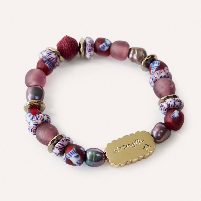STRENGTH Inspirational Beaded Stretch Bracelet with Glass & Pearl