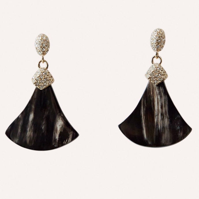 Constance Pave Swarovski Crystal Drop Earring in Black Horn