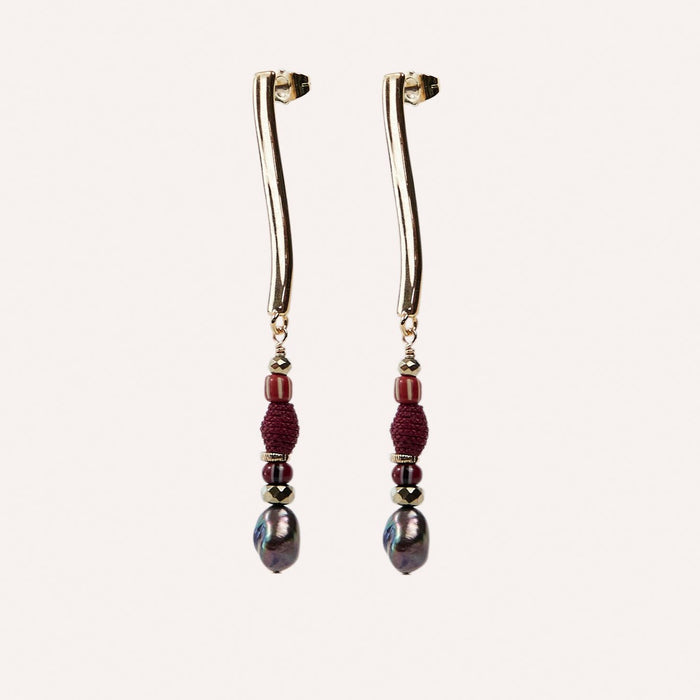 Ora Linear Drop Earring with Cranberry Raffia & Pearl