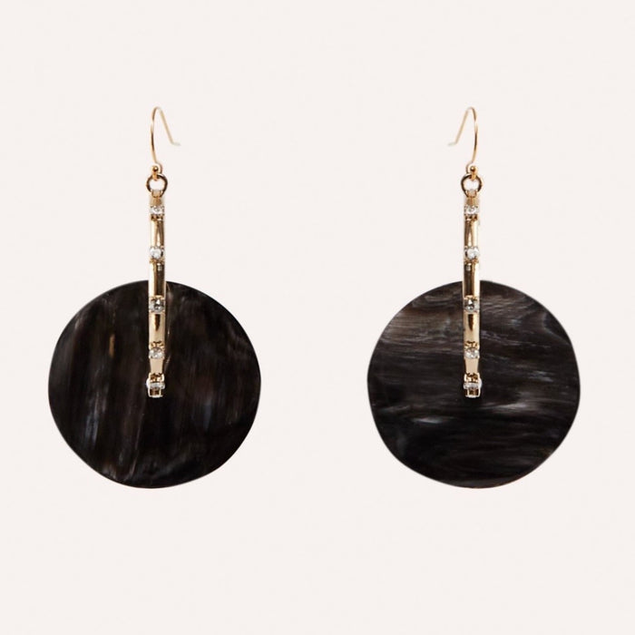 Anja Gold Hoop Earring with Swarovski Crystal accents & Black Horn