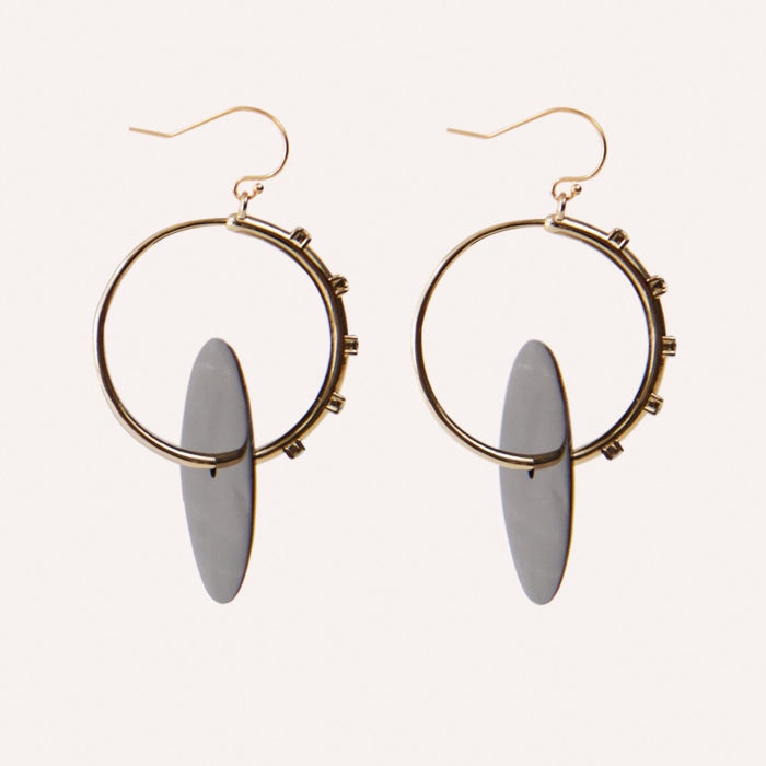 Anja Gold Hoop Earring with Luxury Crystal Accents & Horn