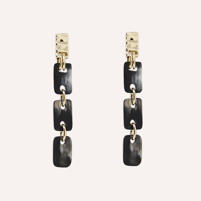 Lindiwi Linear Drop Earring in Black Horn