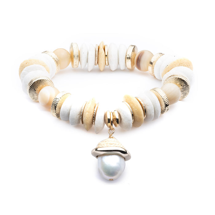 Aster Baroque Pearl Charm Bracelet
