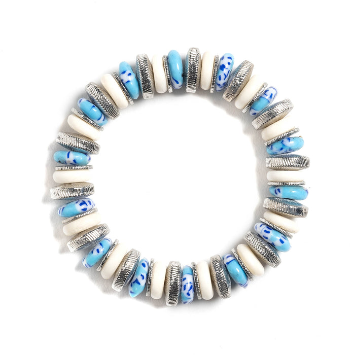 Monarch Beaded Stretch Bracelet in Turquoise Glass & Blonde Bone