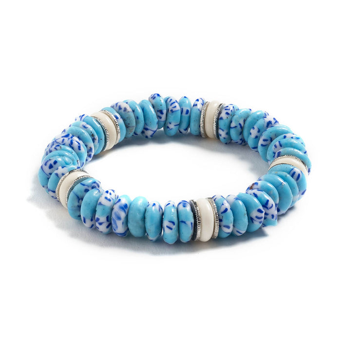 Egypt Beaded Stretch Bracelet in Turquoise Glass & Blonde Bone