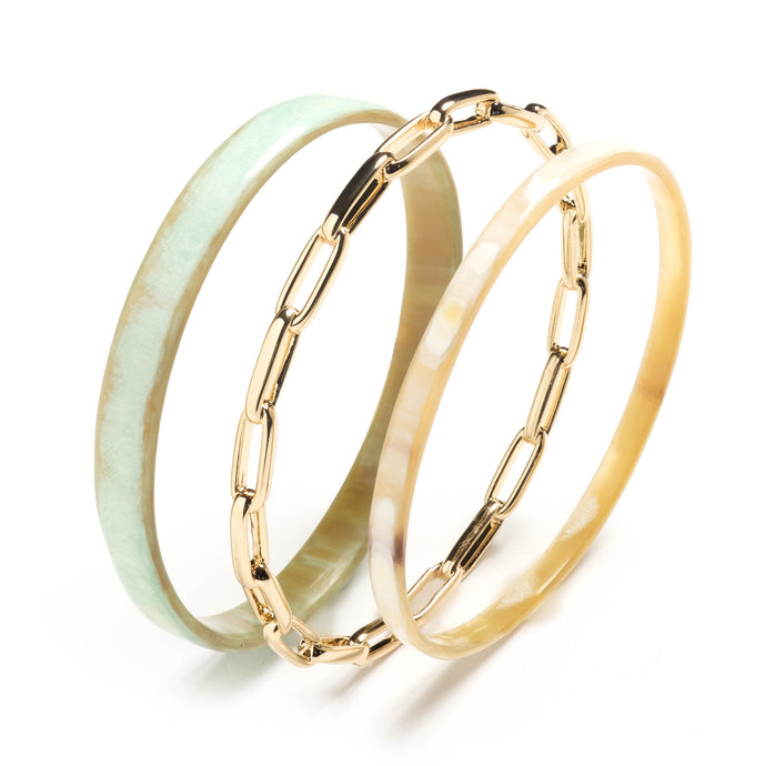 Inaya Set of 3 Bangle Bracelets with Mint & Blonde Horn I Akola
