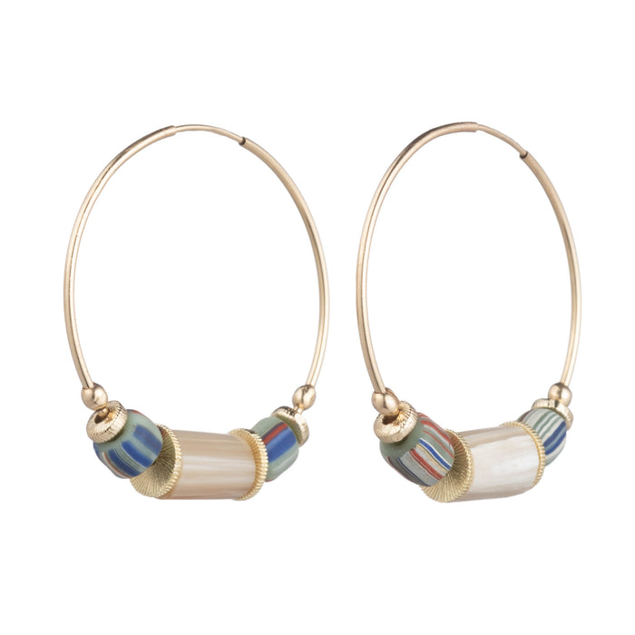 Aden Hoop Earring with Multi Color Glass & Caramel Horn