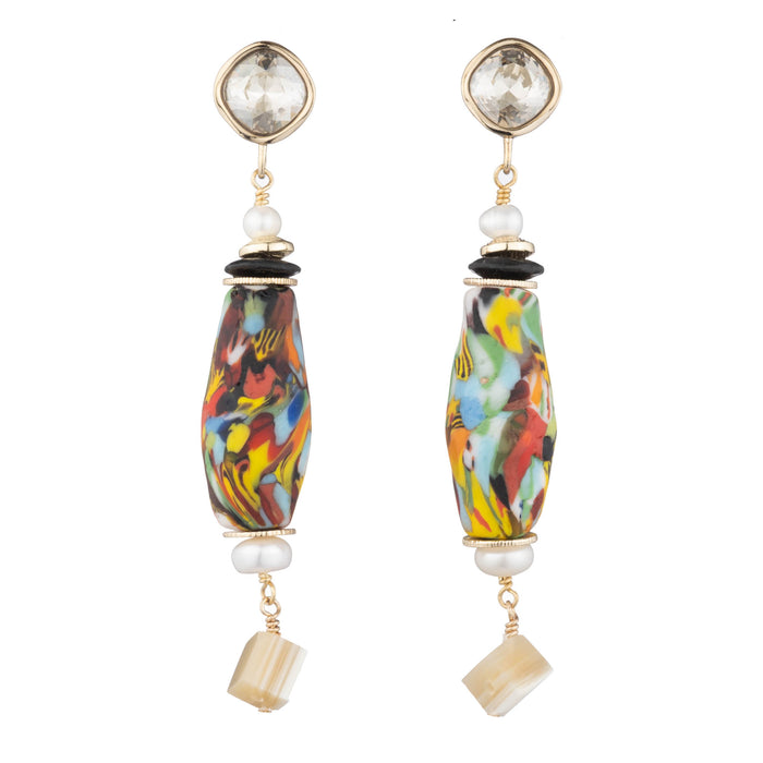 Rahmi Abstract Drop Earring with Swarovski Crystal, Colorful Marbled Glass & Horn