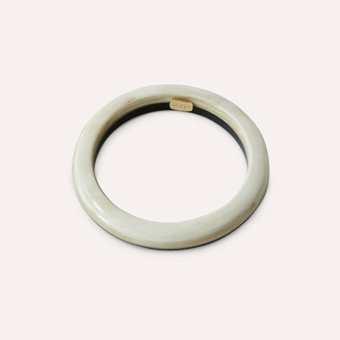 Haven Bangle Bracelet in Black & White Horn