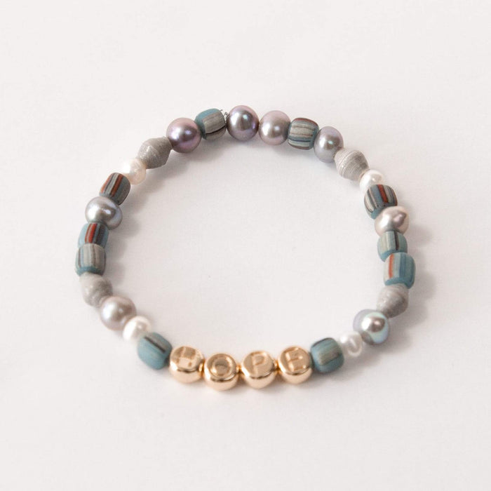 HOPE Inspirational Dainty Beaded Stretch Bracelet with Gray Pearl & Glass