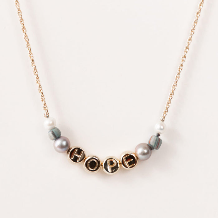 HOPE Inspirational Dainty Beaded Necklace with Gray Pearl & Glass