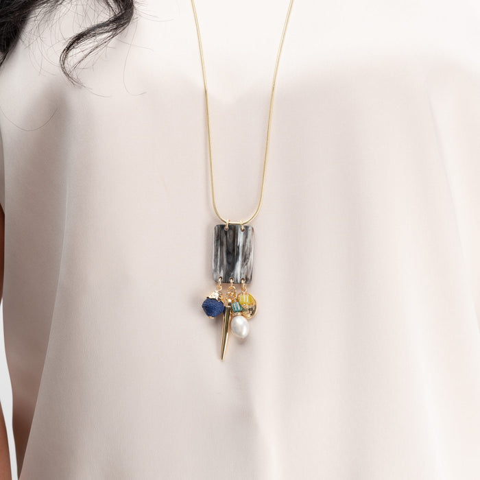 Alba Long Chain Necklace with Horn, Pearl & Glass Charms