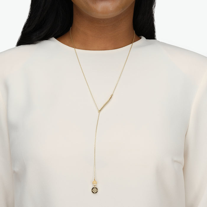 FEARLESS Inspirational Chain Lariat Necklace with Horn
