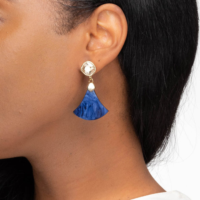Elizabeth Statement Earring with Swarovski Crystal & Navy Horn