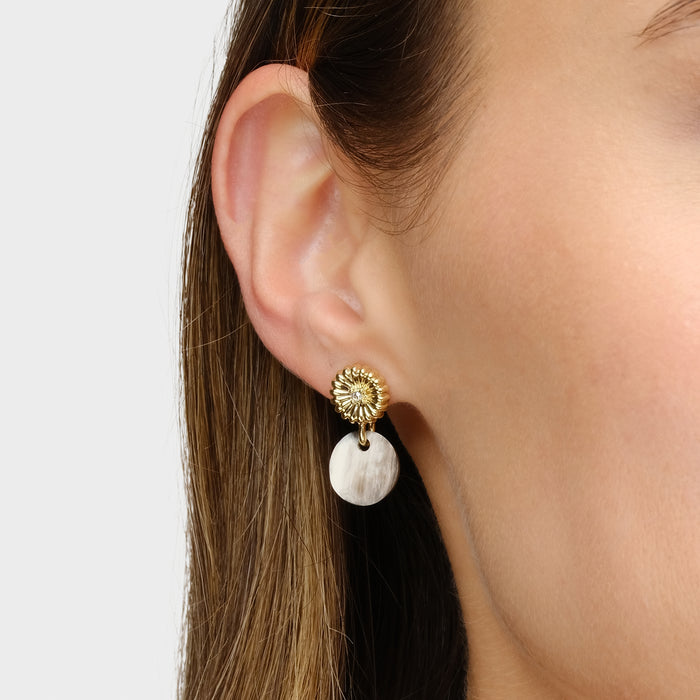Rossi Small Drop Earring with Swarovski Crystal accent & Black Horn