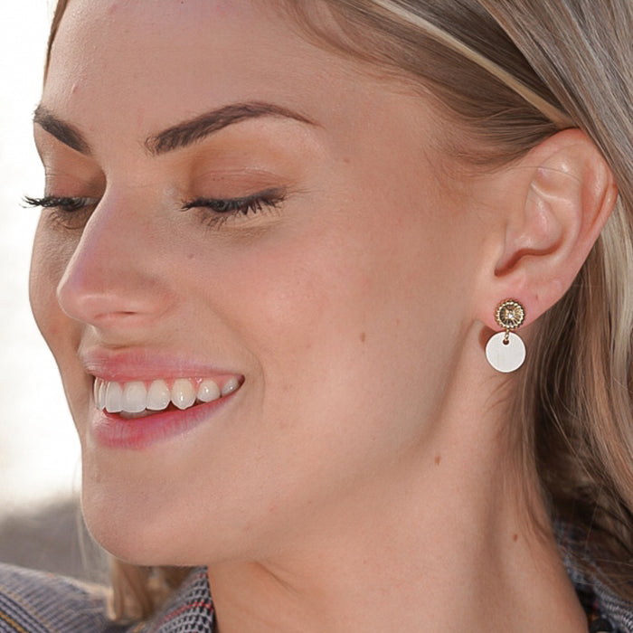 Rossi Small Drop Earring with Swarovski Crystal Accent & Horn