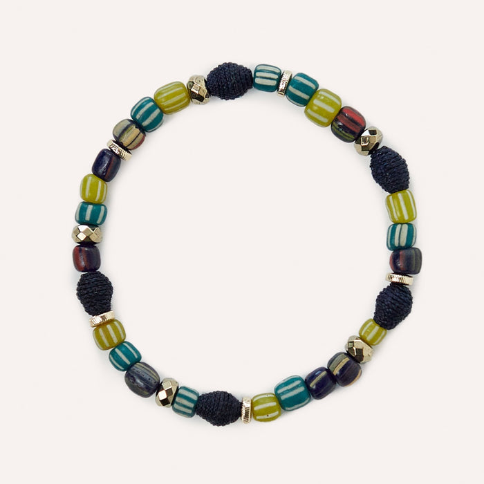 Caroline Beaded Stretch Bracelet in Blue Multi Raffia & Glass