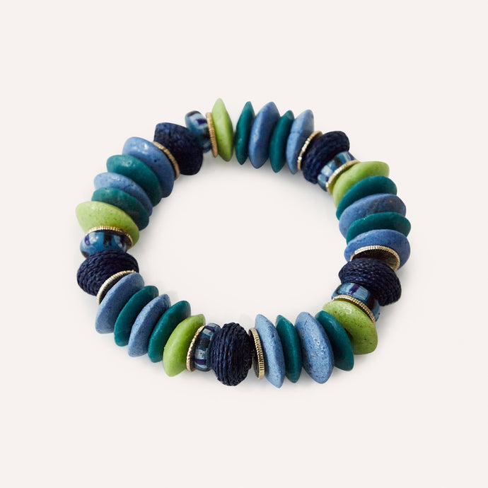Audra Beaded Stretch Bracelet with Blue Multi Raffia & Glass