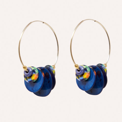 Maren Hoop Earring with Navy Horn & Rainbow Glass