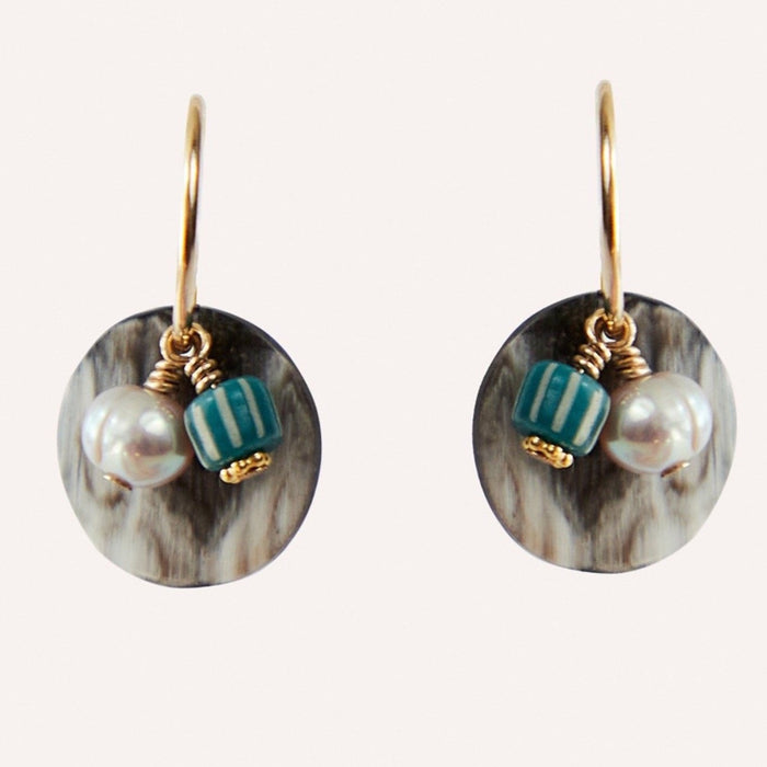Giselle Hoop Earring with Gray Pearl, Glass & Black Horn