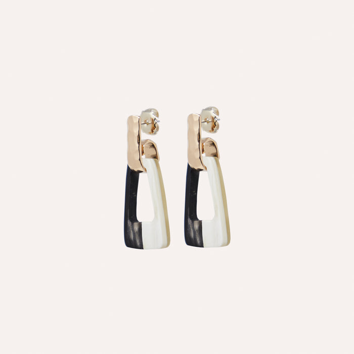 Alina Drop Earring in Black & White Horn