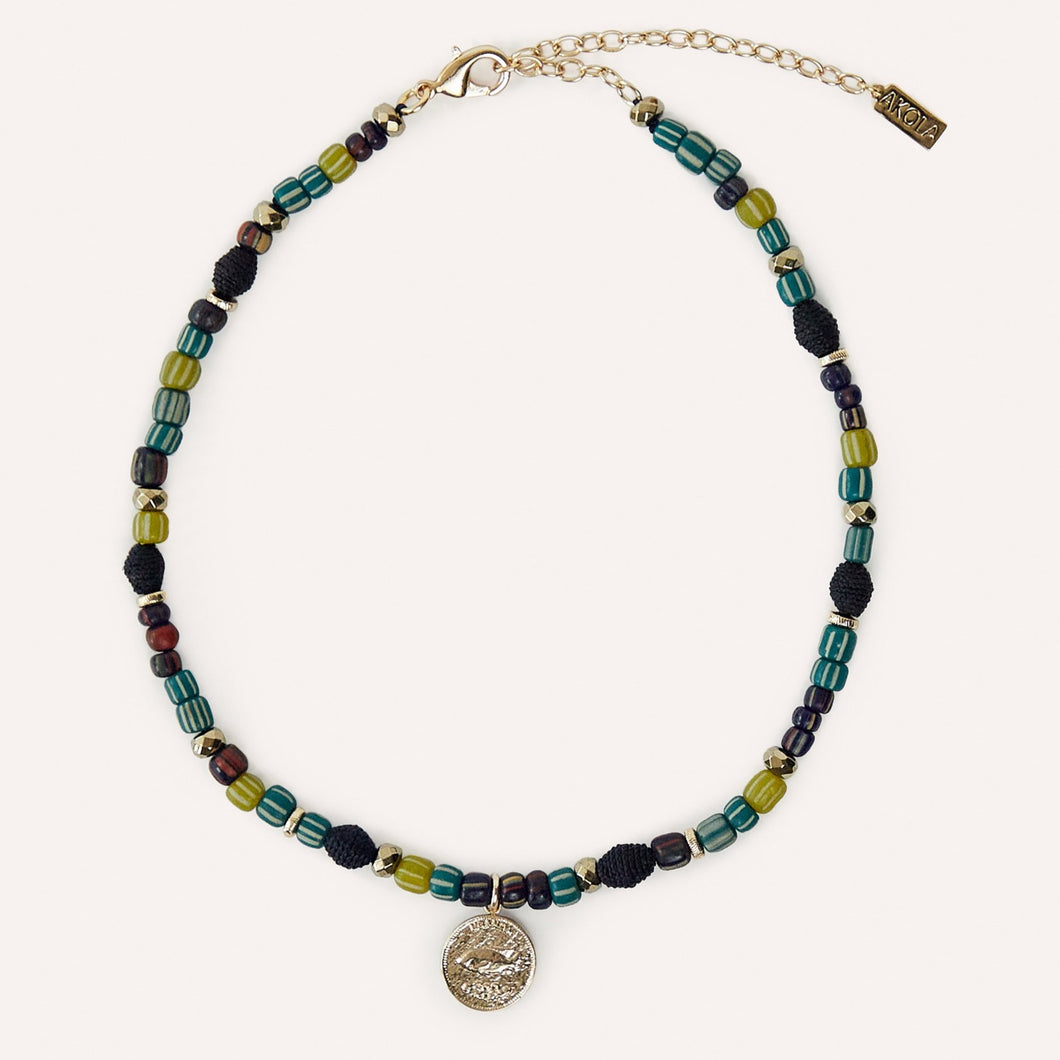 Adwoa Beaded Necklace with Coin Charm, Glass & Raffia